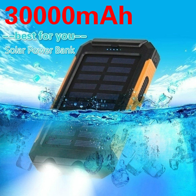 Solar Power Bank 30000mAh Panel Large-capacity Portable Phone Battery Dual USB Charger LED Lighting Outdoor Travel Charger 1