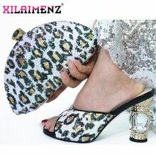 2019 Mode Italiaanse Ontwerp Hoge Hakken Schoenen en Tas Te Passen Nigeriaanse Schoenen en Tas Set in White Ladies Party schoenen en Tas