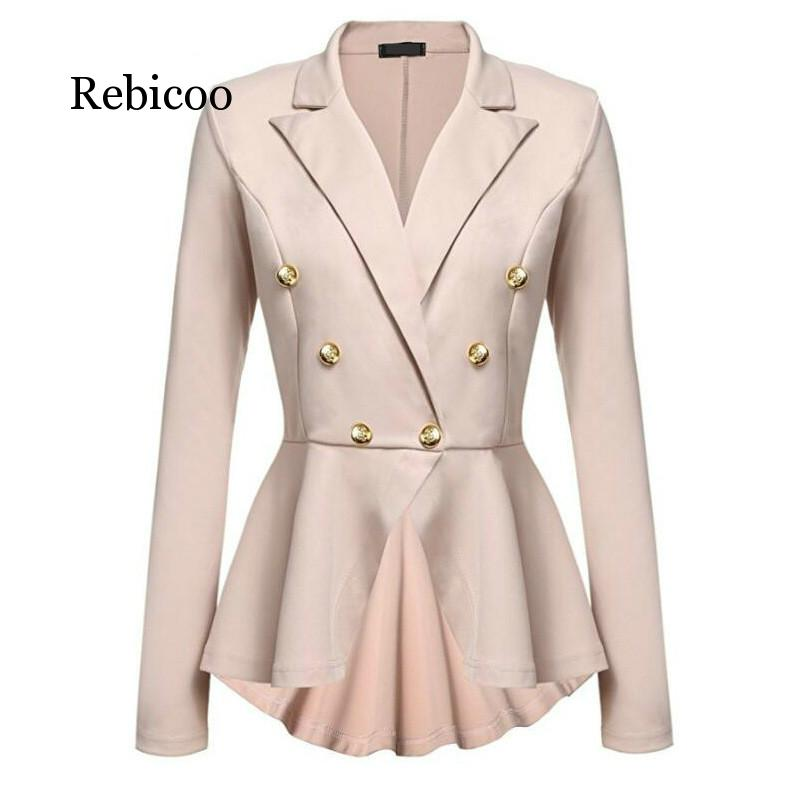 New Fashion Women's Small Suit Double Row Metal Buckle Long-sleeved Slim Temperament Short Suit Jacket 2019