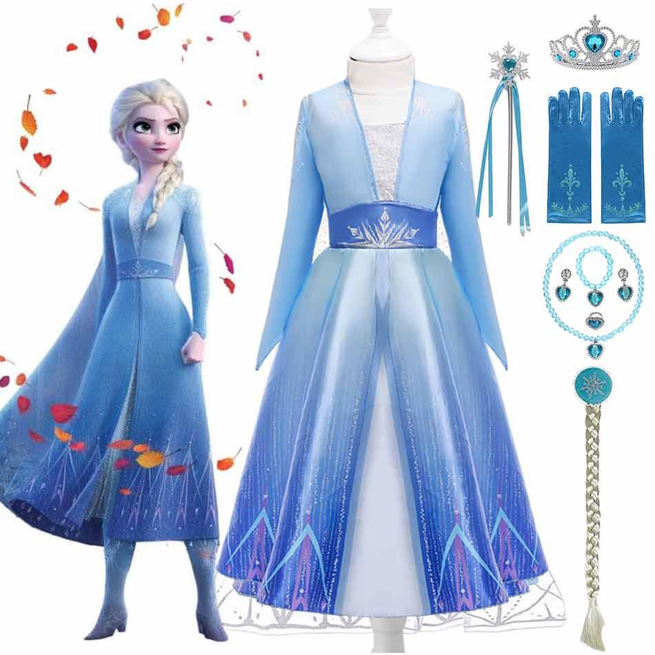 Дисней «Холодное сердце» 2 вечерние одежда принцессы платье «Принцесса Эльза» для девочек нарядное Снежная королева, косплей, нарядные пла...
