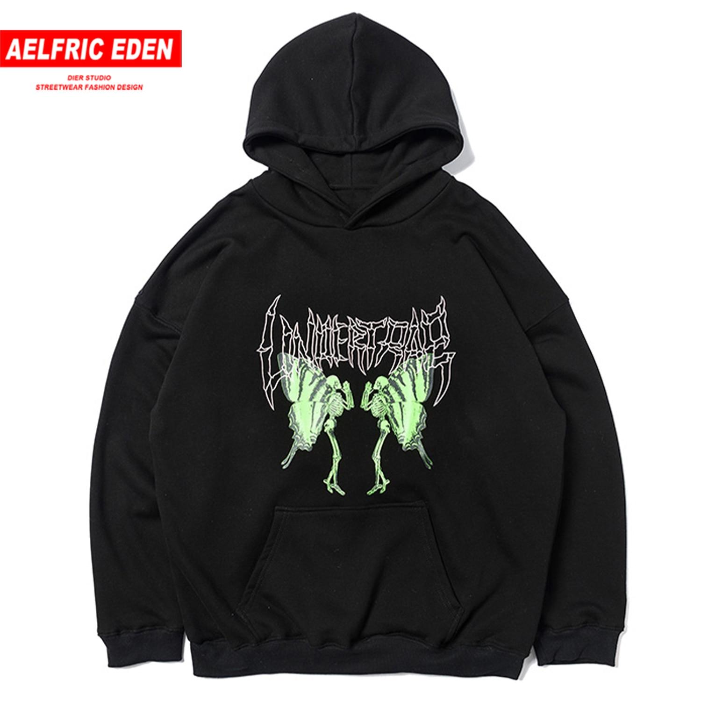 Aelfric Eden Butterfly Skull Print Men's Hoodie Europe And America High Street Dark Hip Hop Pullover Cotton Hoodie Sweatshirt