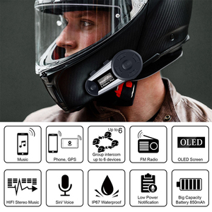 Image 2 - Fodsports 2 pcs V6 Plus Intercom 6 riders 1200m motorcycle helmet intercom moto bluetooth helmet Headset Intercomunicador FM LED