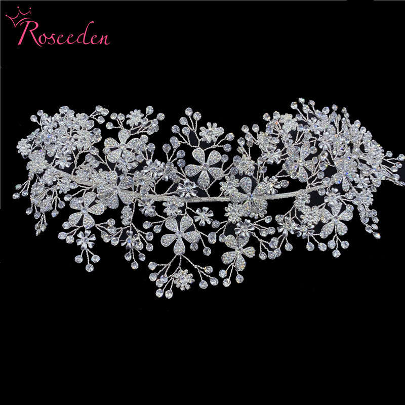 Image 3 - Elegant Bride Crystal Headbands Silver Rhinestone Tiara Hairbands