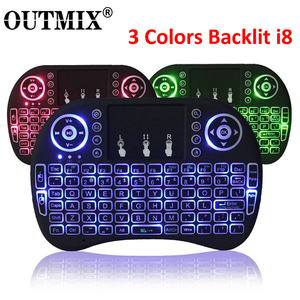 3 Colors Backlit i8 Mini Wireless Keyboard 2.4ghz English Russian 3 Colour Air Mouse with Touchpad Remote Control Android TV Box