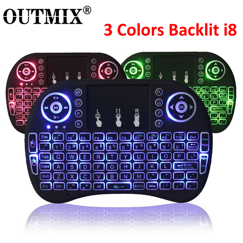 3 Colors Backlit i8 Mini Wireless Keyboard 2.4ghz English Russian 3 Colour Air Mouse with Touchpad Remote Control Android TV Box image