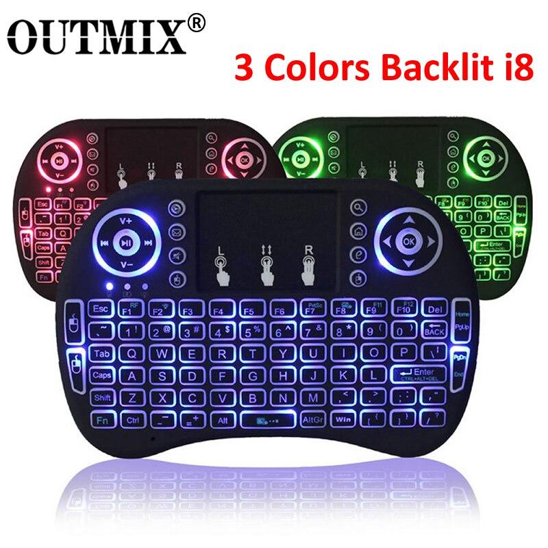 3 renk arkadan aydınlatmalı i8 Mini kablosuz klavye 2.4ghz İngilizce rusça 3 renk Touchpad ile hava fare uzaktan kumanda android tv kutusu
