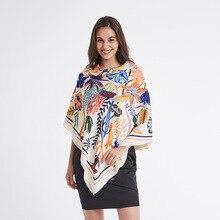 Twill Silk Shawls and Wraps Large Neck Scarves For Women Print Hijab Scarfs Fema