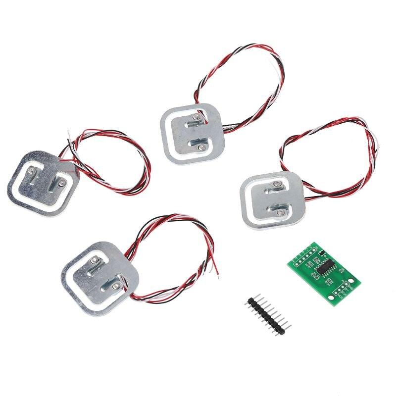 New 4pcs 50kg Human Scale Load Cells & HX711 AD Module Kit Resistance Strain Weight Sensor Measurement Tools