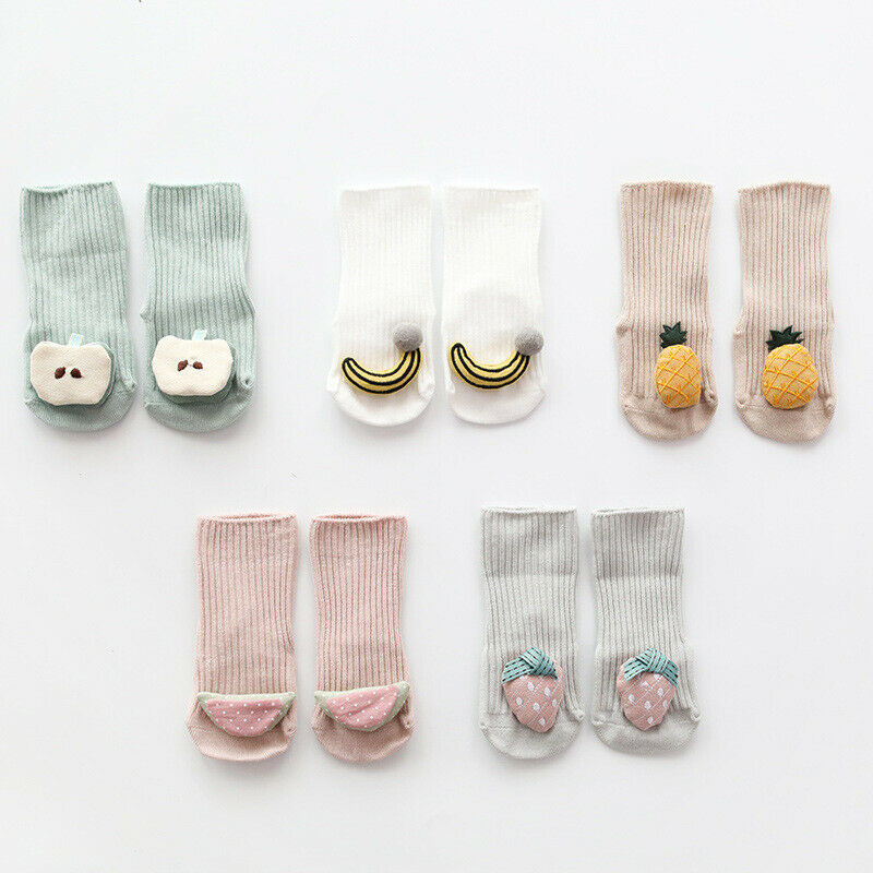 2019 Baby Clothing Toddler Baby Non-Slip Boot Socks Girls Winter Cartoon Warm Shoes 3D Cartoon Fruit Winter Warm House Shoes