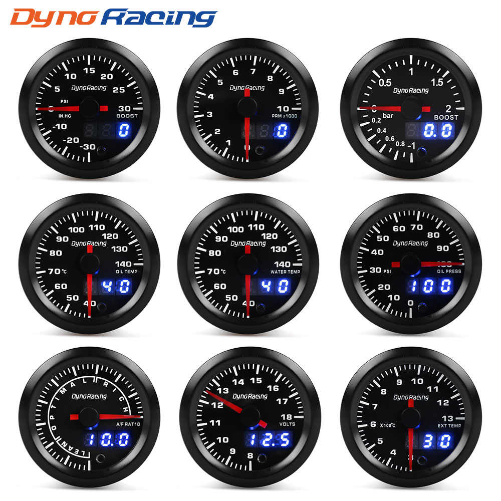 "Dynoracing 2 ""52 Mm 7 Warna LED Dual Display BOOST Air Suhu Minyak Tekanan Minyak Voltmeter Udara Bahan Bakar Rasio EGT Tachometer Gauge Mobil"