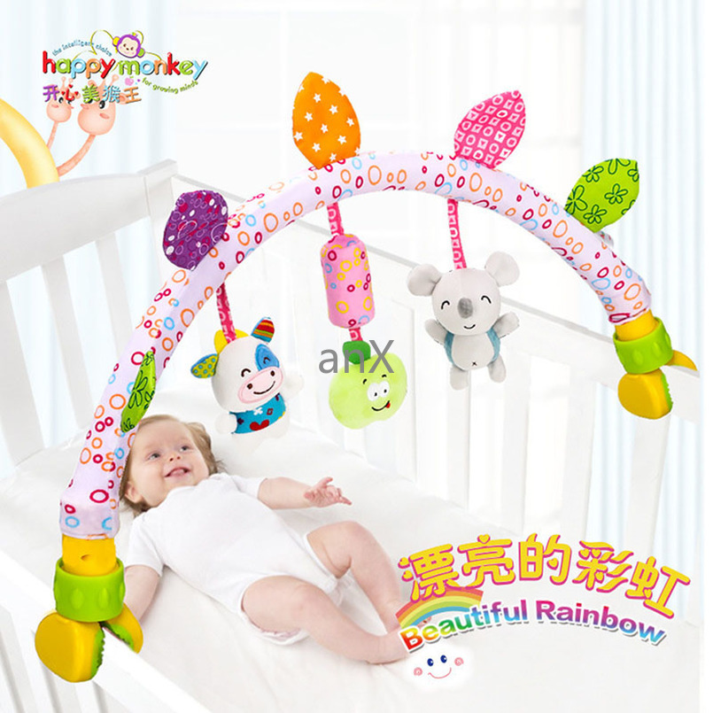80 CM Babies Musical Mobile For Crib Plush Toys Arc On The Bed Toddlers Rattle Newborn Baby Boy Girl Toy For Stroller 0-12 Month
