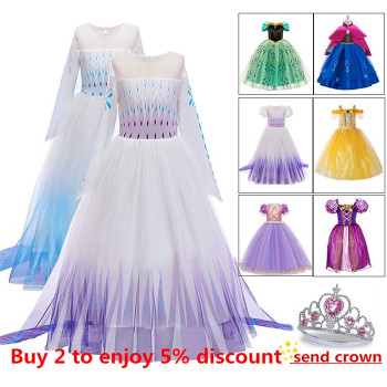Free crown Baby Girls Dress 2020 Christmas Cosplay Costume Summer Princess Dress for girls anna elsa Party Vestidos Menina baby girls dress christmas anna elsa cosplay costume summer dresses girl princess elsa dress for birthday party vestidos menina