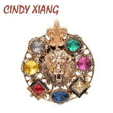 CINDY XIANG Crystal Lion Broches Voor Vrouwen Ronde Koning Stijl Pin Dier Fashiopn Sieraden Winterjas Jas Accessoires Party(China)