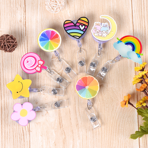 2020 New Design Cute Retractable Nurse Badge Reel Clip Cartoon Heart Candy Sunflower Lemon Students IC ID Card Badge Holder