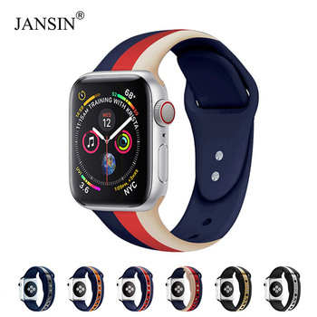 цена на JANSIN Sport band for Apple Watch series 5/4/3/2/1 Bracelet strap for iWatch 38mm/40mm/42mm/44mm Soft Silicone Replacement band