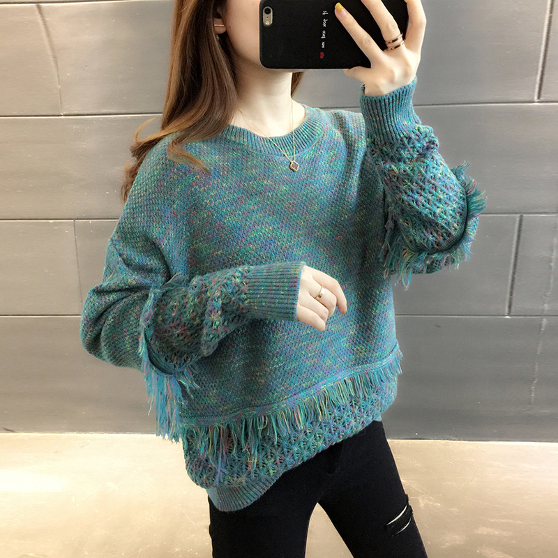 Ms. Fashion Low Collar Loose  Thick Outer Wear Autumn And Winter 2020 New Western Style Wild Knit Shirt Tide