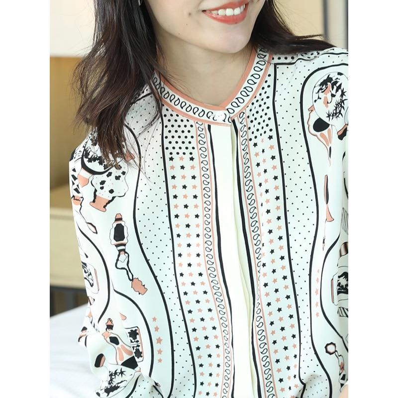 100% Echte Zijde Blouse Vrouwen Kleding 2020 Lente Zomer Shirt Koreaanse Luipaard Shirts Elegant Dames Tops En Blouses ZT2314 - 2