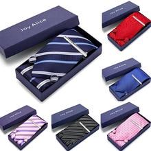 Men Gift Silk Woven 8cm New Paisley Blue Tie Necktie Hanky Cufflinks&Clips Set Fashion Party Wedding 12568-SD100
