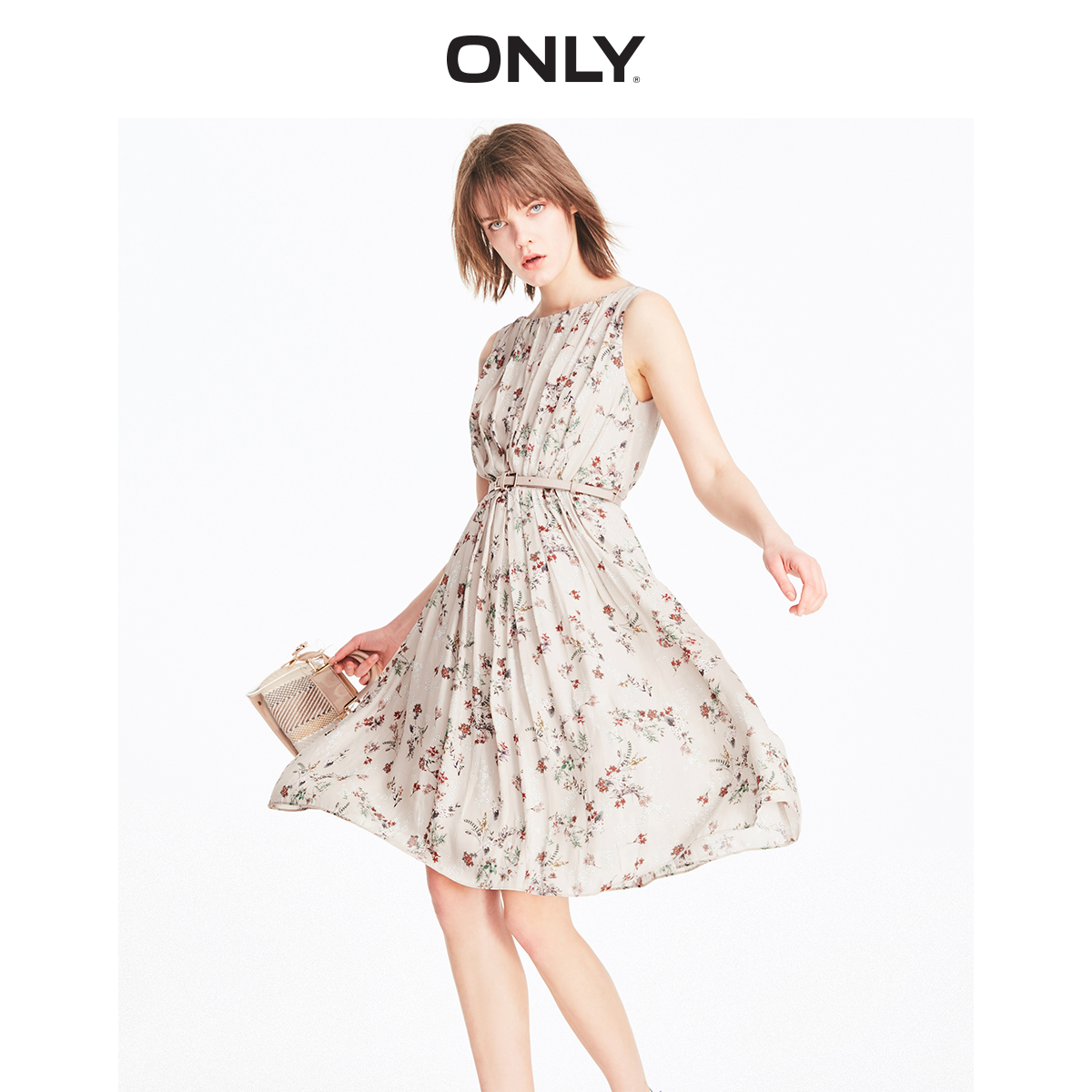 ONLY Women's  Floral Cinched Waist Pleated A-lined Chiffon Dress | 119207530