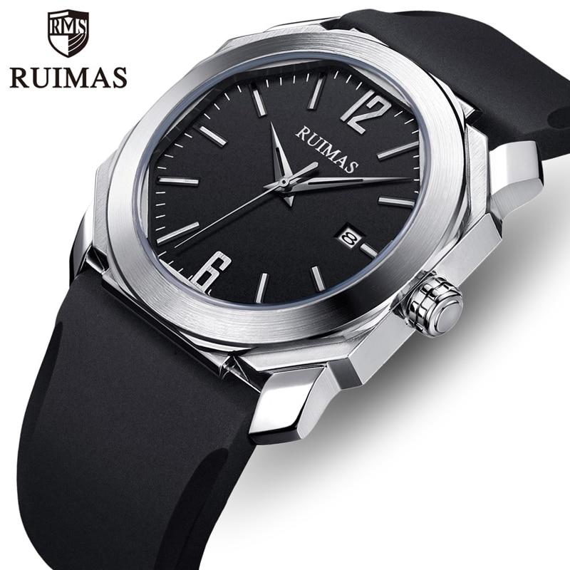 RUIMAS Watch Top Luxury Brand Men Fashion Simple Silicone Quartz Watches Mens Casual Sport Waterproof Date Wristwatch Male Clock