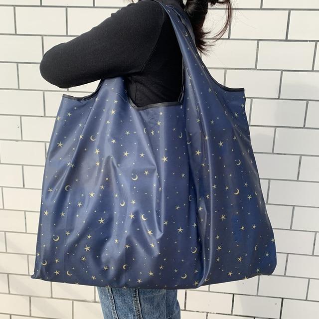 BIG Eco-Friendly Folding Shopping Bag  Reusable Portable Shoulder Handbag for Travel Grocery Fashion Pocket Tote Bags