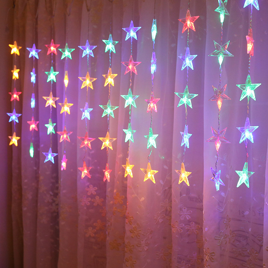Thrisdar 2.5M 50LED Star Icicle Curtain Fairy String Light Garland Wedding Party Curtain Birthday String Chain Banner Ornaments