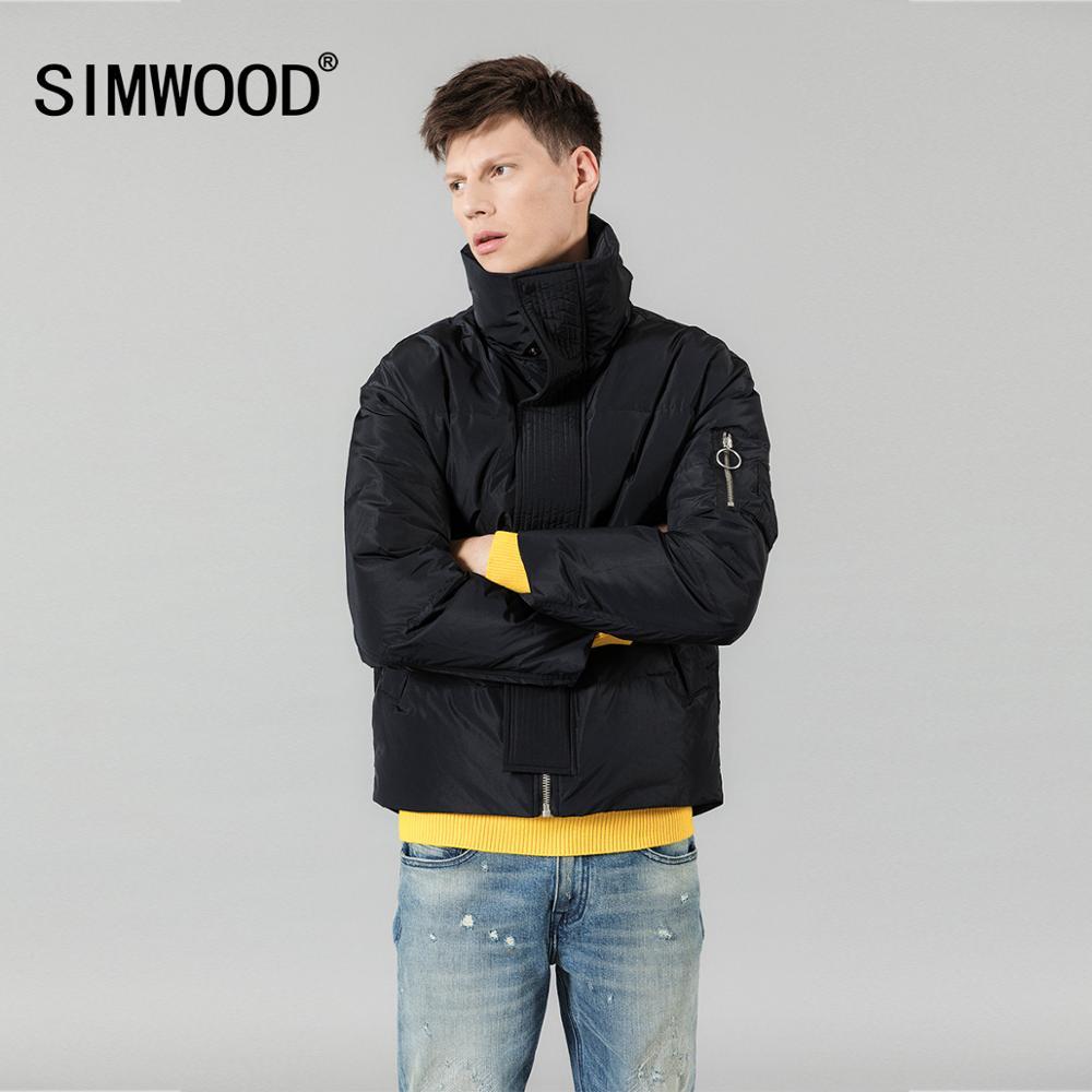 SIMWOOD Winter New Warm 90% Grey Duck Down Jacket Men Turtleneck Coats Pocket High Quality Plus Size Brand CLothing 180299