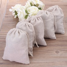 """100pcs Small Linen Drawstring Gift Bags 8x10cm (3""""x4"""") Wedding Party chocolate Favor Holder Cotton Mulin Jewelry Packaing Pouch"""