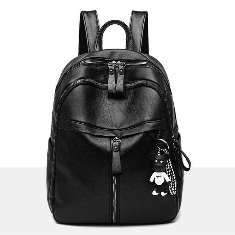 Fashion PU Leather Women Backpack Female Black Backpacks Zipper Bags Student Backpack Solid Rucksack For Girls With Pendant