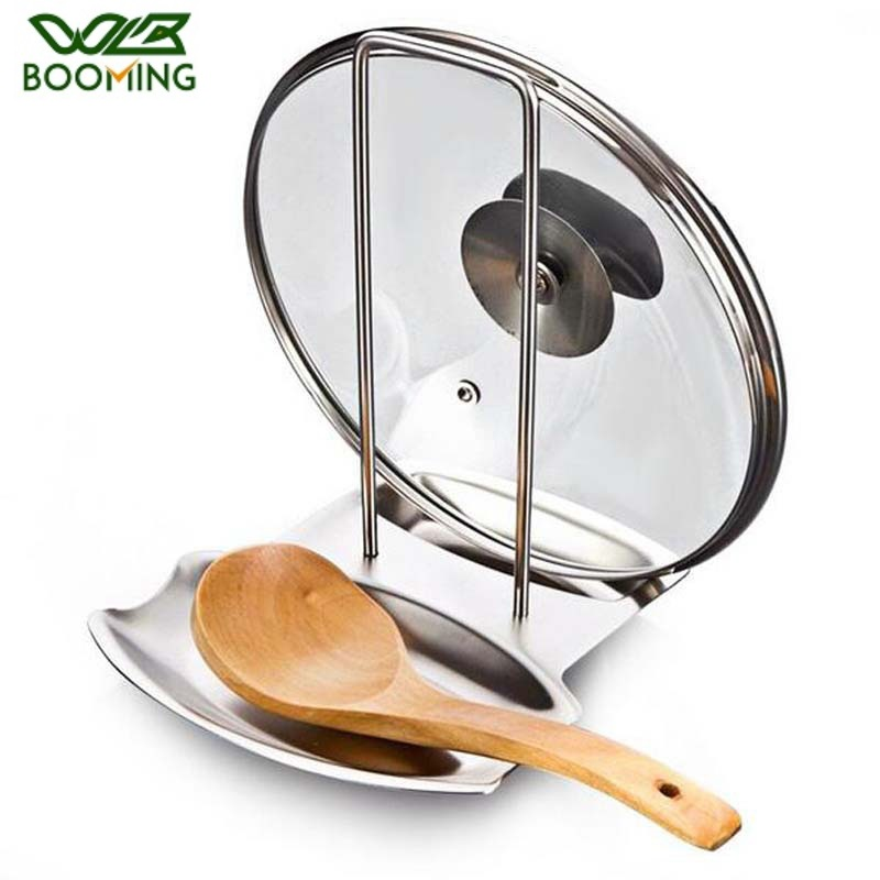 WBBOOMING Kitchen Accessories Stainless Steel Pot Lid Shelf Kitchen Organizer Pan Cover Lid Rack Stand Sponge Spoon Dish Holder