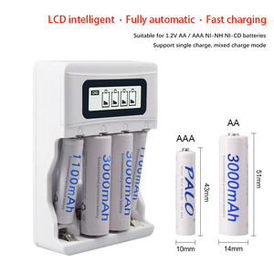 Image 2 - PALO LCD Display Smart USB Charger AA rechargeable battery charger for 1.2V AA / AAA Ni CD Ni MH Rechargeable Batteries