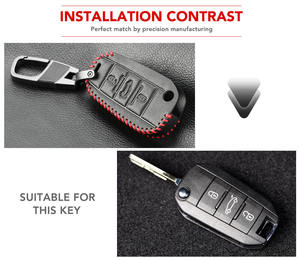 Image 4 - Car Key Case Cover For Peugeot 301 308 408 508 2008 308S 3008 4008 5008 307 Accessories Genuine Leather Keychain Bag Holder