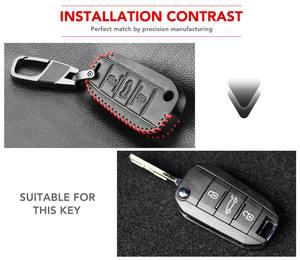 Image 4 - Funda para llave de coche para Peugeot 301, 308, 408, 508, 2008, 308S, 3008, 4008, 5008, accesorios, llavero de cuero genuino, soporte para bolso