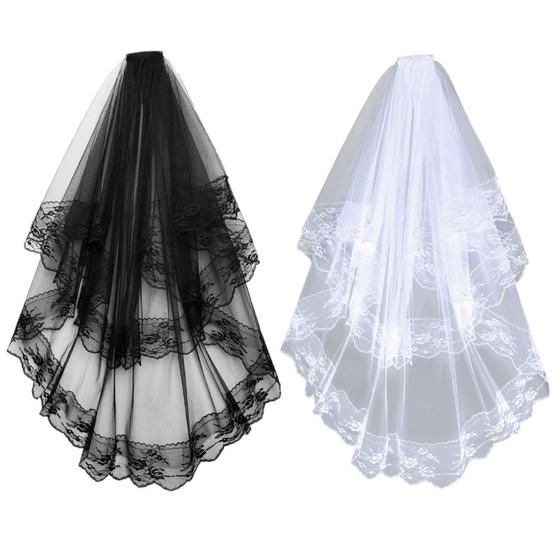 2 Tier Women Girls Halloween Cosplay Wedding Veil Scalloped Floral Lace Trim Double Layer Tulle Mesh Party Costume With Comb