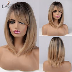 EASIHAIR Brown Ombre Wigs Synthetic Hair Wigs Women Natural Layered Wigs with Bangs Heat Resistant Wig Cute Cosplay