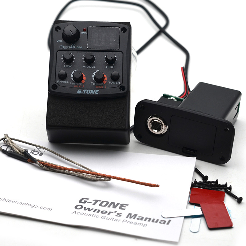 Cherub GT-5 Preamp Piezo Guitar 3-Band EQ Equalizer with Chromatic Tuner