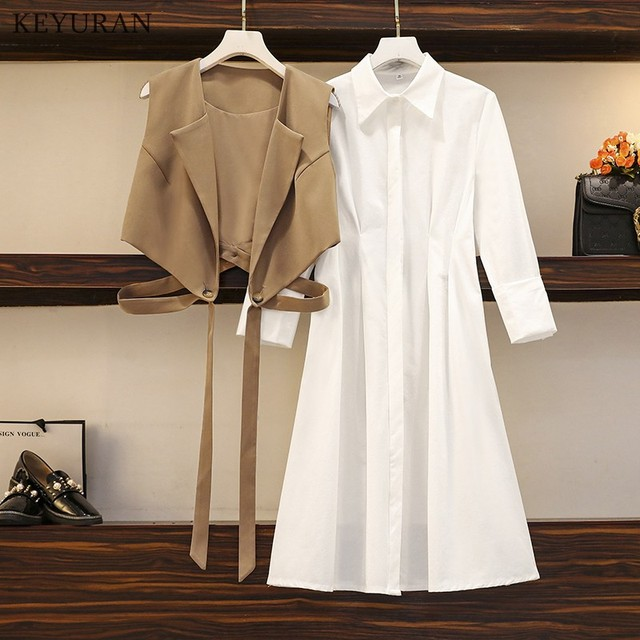 Long Shirt Two Piece Set  Turn Down Collar White Shirt Dress And Vest Tops 2
