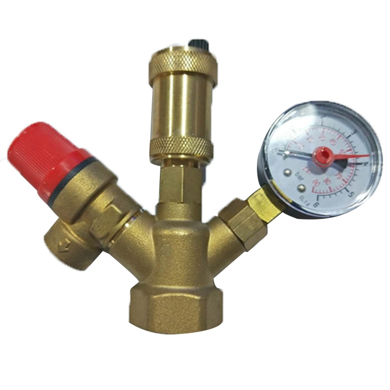 Brass Boiler Valve 1 Inch DN25 Exhaust Safety Pressure Relief Valve And Pressure Gauge Boiler Safety Components