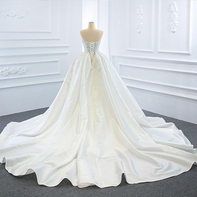 2021 New Arrivals 2 Pieces Pearls Lace Mermaid Wedding Dress With Detachable Chapel Train Vestido De Noiva Sereia 2 Em 1 3