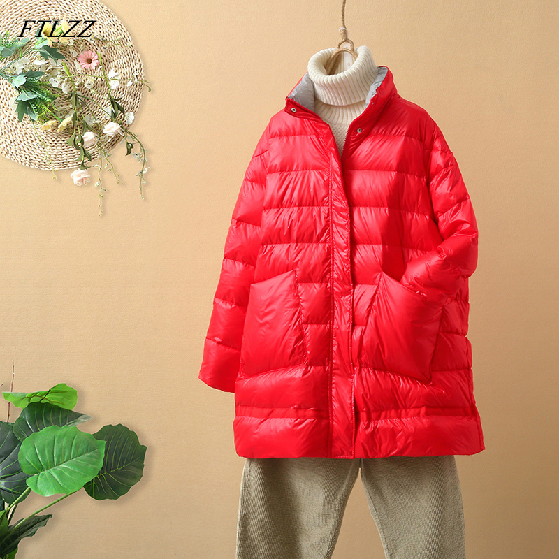 FTLZZ New Winter 90% Ultra Light White Duck   Down   Jacket Women Loose   Down     Coat   Parkas Female Warm Parkas Snow Outwear