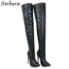 Sorbern/ботинки 12 см, 14 см, 16 см; женские ботфорты с острым носком и острым каблуком; унисекс; большие размеры 5-15