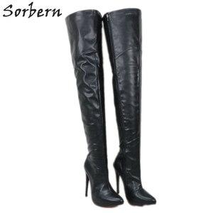 Image 1 - Sorbern 12cm 14cm 16cm 부팅 여성 지적 발가락 날카로운 발 뒤꿈치 무릎 부팅 유니섹스 빅 사이즈 크기 5 15