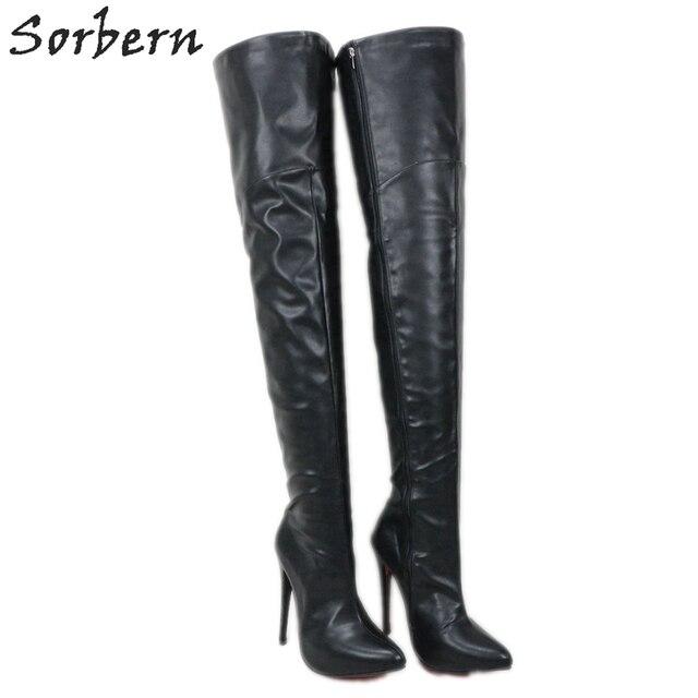 Sorbern 12cm 14cm 16cm 부팅 여성 지적 발가락 날카로운 발 뒤꿈치 무릎 부팅 유니섹스 빅 사이즈 크기 5 15