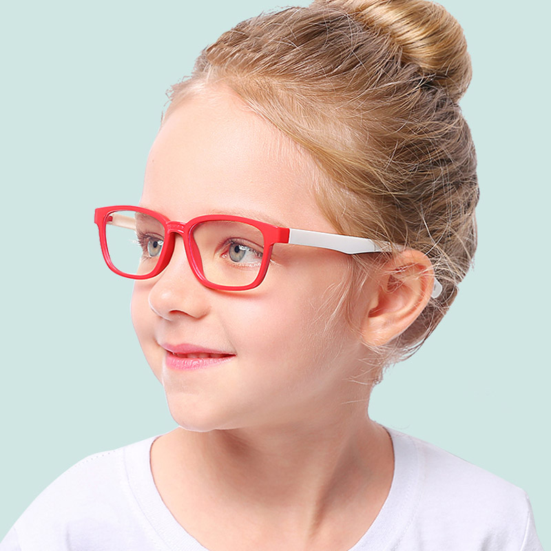 Kids Optical Glasses Flexible Bendable One-piece Safe Eyeglasses Girls Boys Plain Mirror Anti-blue Light Silicone Goggles