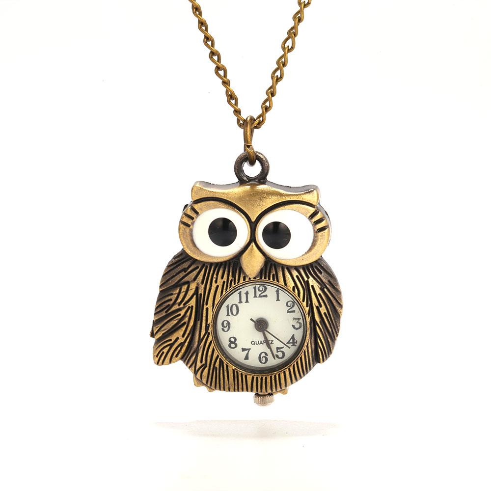 Small Bronze Big Eyes Fat Owl Roman Scale Pocket Watch Retro Gift Personality Creative Quartz Pocket Watch With Necklace