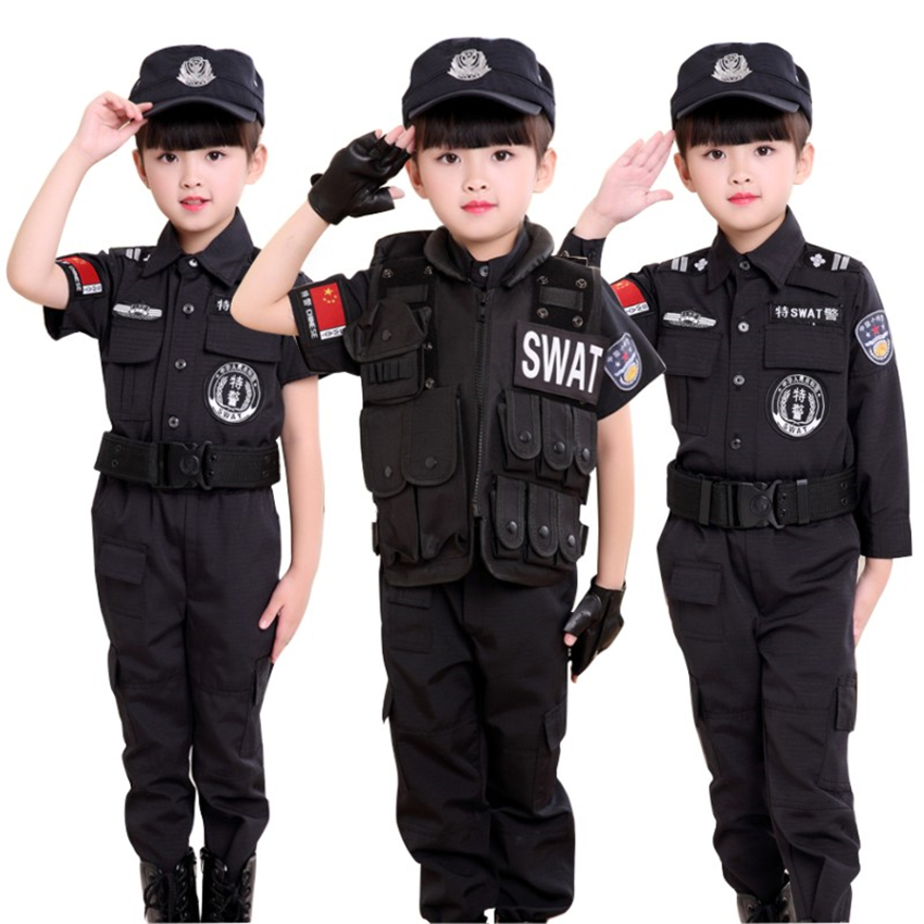 Halloween Carnival Policemen Costumes For Boys Kids Police Uniform Special Police SWAT Party Performance Cosplay Festive Wear