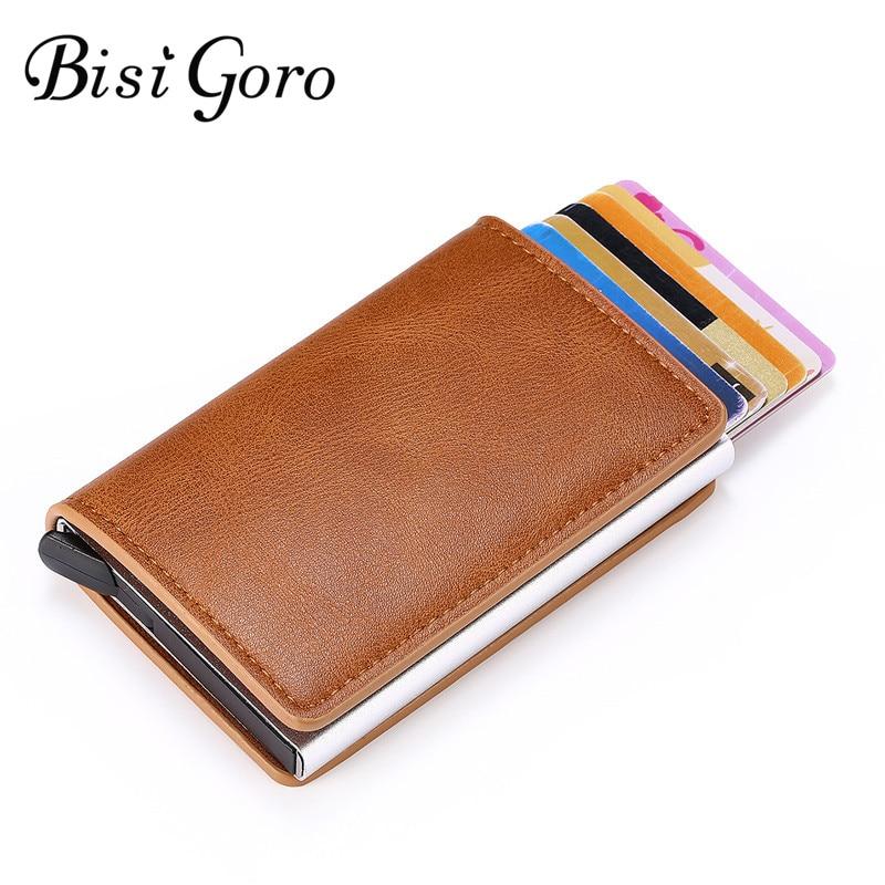 Bisi Goro Anti Rfid Credit Card Holder Case 2019 Men Slide Leather Id Card Holder Bank Aluminium Metal Wallet Credit Card Bag