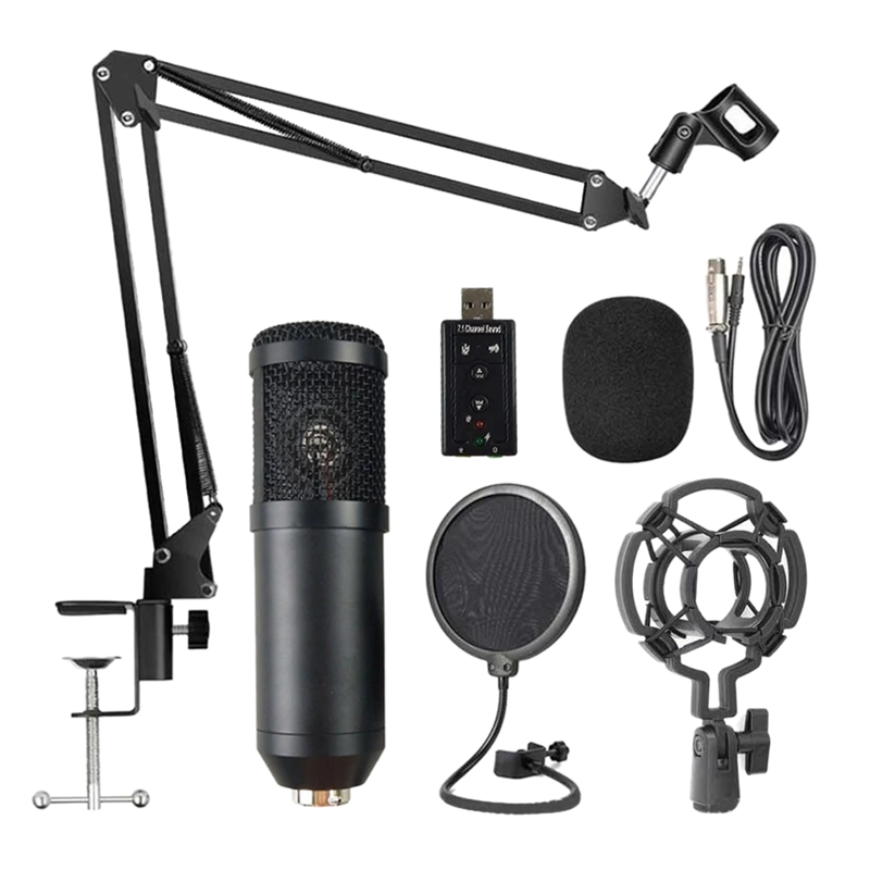 BM800 Professional Suspension Microphone Kit Live Broadcasting Recording Condenser Microphone Set for Computer Karaoke KTV