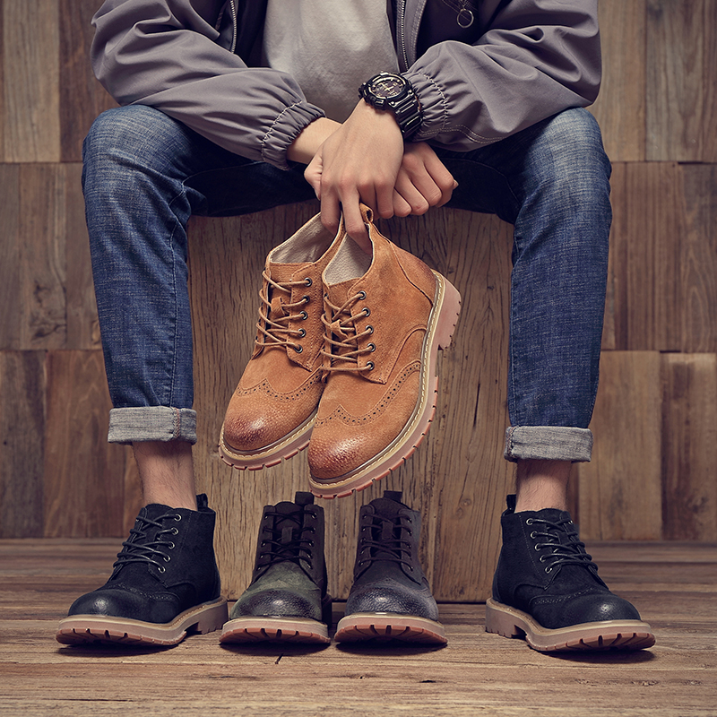 LIAOCHI 2019 New Spring And Autumn Martin Boots Men In The Fashion Trend Casual Wild High To Help Winter Shoes Men's Boots