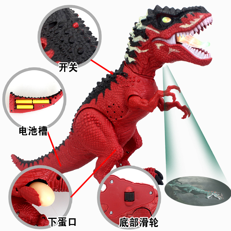 Children Electric Dinosaur Toy Will Sound Making Will Shining-Projection Walk Large Size Replica T-REX Toy Animals